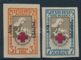 1923 Vöröskereszt vágott sor felülnyomással Mi 46-47