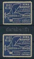 1932 Róma - Budapest I. légiút emlékére 2 db levélzáró