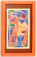 Cs. Németh Miklós (1934-2012): Női fej. pasztell, papír, jelzett, üvegezett keretben, 29×14 cm