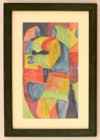 Cs. Németh Miklós (1934-2012): Asszonyok. Akvarell, papír, jelzett, üvegezett keretben, 23×14 cm