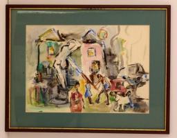 Igaly József (1905-1980): Életkép a városban. Akvarell, papír, jelzett, üvegezett keretben, 36×50 cm