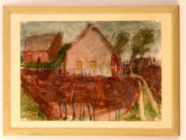 Somlai Vilma (1938-2007): Szőllős kert. Akvarell, papír, jelzett, üvegezett keretben, 42×59 cm