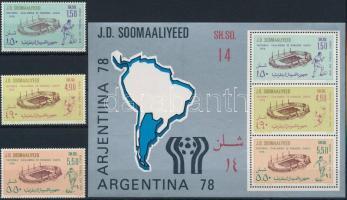 1978 Labdarúgó világbajnokság sor Mi 263-265 + blokk Mi 6
