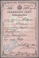 1868 Magyar Királyság által kiállított igazolási jegy, rajta Vas megye németújvári járásának bélyegzőjével, hátoldalon 3x4+3 kr okmánybélyeggel / ID