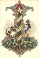 Boldog Magyar Húsvétot / Easter greeting art postcard, folklore s: Bozó