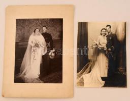 cca 1920-1930 2 db katonai esküvőfotó, különböző méretben