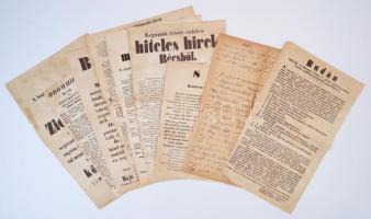 cca 1890-1910 Az 1848-1849-es hirdetmények, térkép, stb., századfordulós másolatai, összesen 10 db