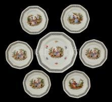 Alföldi áttört szélű süteményes készlet romantikus párral, matricás, kopott, jelzett, d:17 cm (6×), d:25 cm