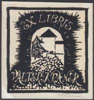 Valter Kraner (1907-1997): Ex libris, bookplate. Lino-cut, signed, 11x10 cm, Valter Kraner (1907-1997): Ex libris,11x10 cm.