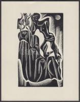 Jelzés nélkül: Ex libris, kubista figura. Fametszet, papír, 10×6 cm