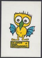 Zbigniew Dolatowski (1927-2001)  Lino cut bookplate 10x7 cm, Zbigniew Dolatowski (1927-2001): Ex libris Erik Skoveborg. Linómetszet. Színes, 10x7 cm