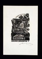 Nagy Lázár László (1935-): Ex libris, Losonci Miklós emléklap. Fametszet, papír, jelzett, 10×9 cm