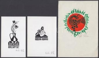 Meskó Anna (1943-2010)- Póka György (1944-):3 db exlibris Linó, papír, jelzett, 8×7-10×7 cm
