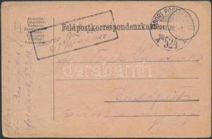 1918 Tábori posta levelezőlap K.u.k. Jmorov (Reservespital) + TP 524 A