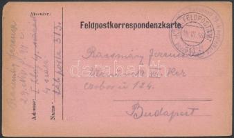 1916 Tábori posta levelezőlap M.k. Budapesti 29-ik népfölkelő gyalog ezred + FP 313