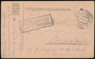 1917 Tábori posta levelezőlap ...KOMMANDO DER MARSCHFORMATIONEN + FP 622 b
