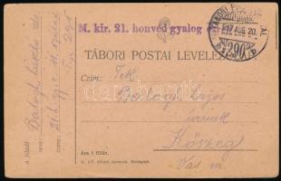 1917 Tábori posta levelezőlap M.kir. 21. honvéd gyalog ezred + TP 290 b