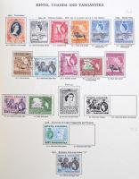 673 db különféle nagyrészt bélyegzett angol gyarmati bélyeg az 50-es évekből New Age előnyomott albumban