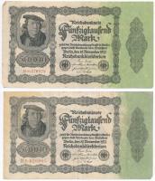 Németország / Weimari Köztársaság 1922. 50.000M (5x) alapnyomat nélküli T:III Germany / Weimar Republic 1922. 50.000 Mark (5x) without underprint C:F