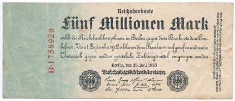 Németország / Weimari Köztársaság 1923. 5.000.000M T:III Germany / Weimar Republic 1923. 5.000.000 Mark C:F