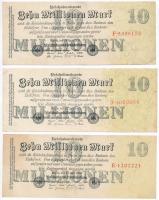 Németország / Weimari Köztársaság 1923. 10.000.000M (3x) T:III Germany / Weimar Republic 1923. 10.000.000 Mark (3x) C:F
