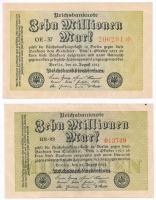 Németország / Weimari Köztársaság 1923. 10.000.000M (2x) + 20.000.000M (4x) T:II,II- Germany / Weimar Republic 1923. 10.000.000 Mark (2x) + 20.000.000 Mark (4x) C:XF,VF