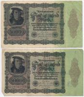 Németország / Weimari Köztársaság 1922. 50.000M (5x) T:III,III- Germany / Weimar Republic 1922. 50.000 Mark (5x) C:F,VG
