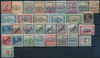 Debrecen II. 1919 31 db megszállási bélyeg, vizsgálójellel + Baranya 10f, garancia nélkül (32.740)