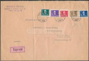 1930 Kormányzói évforduló sor expressz levélen Bécsbe / Mi 458-462 on express cover to Austria