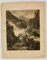 cca 1880 Norwegische Landschaft, litho, feliratozva, 27×21,5 cm