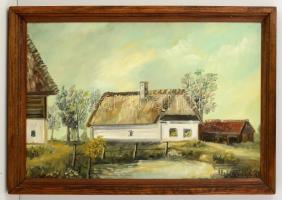 Szabó László (?- ): Szalafő, Pityerszer 1. sz. porta 1993, olaj, farost, jelzett, keretben, 38×57 cm