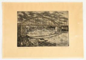Gacs Gábor (1930- ):Újjáépített Szegedi Tisza híd. Rézkarc, papír, jelzett, 19×20 cm