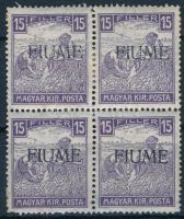 Fiume 1918 Fehérszámú Arató 15f négyestömb Bodor vizsgálójellel (12.000)