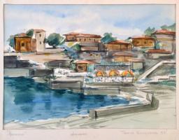 Kliszurov, Pencso (1958?- ): Neszebar, akvarell, papír, jelzett, paszpartuban, 23×32 cm