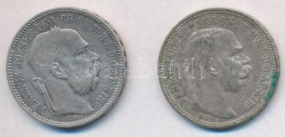 1893KB-1912KB 1K Ag Ferenc József (2x) T:2,2- kis ph., patina Adamo K5; K5.1