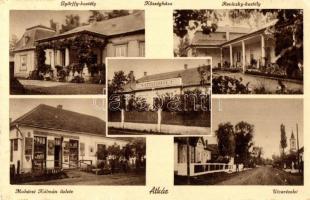Atkár; Győrffy-kastély, községháza, Mohácsi Kálmán üzlete, Reviczky-kastély, utca (EK)