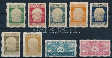 Definitive 9 diff stamps (gum disturbances), 9 klf Forgalmi érték  (gumi sérülések / gum disturbances)