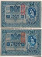 1921. (1902.) 1000K függőleges DEUTSCHÖSTERREICH felülbélygezéssel, mindkét oldal német (2x) T:III