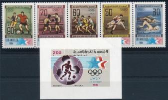 Summer Olympics set in stripe of 5 + block, Nyári olimpia sor ötöscsíkban + blokk