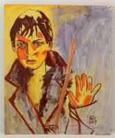 Vári jelzéssel: Férfi portré. Vegyes technika, farost, 60×50 cm