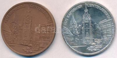 Képíró Zoltán (1944-1981) 1973. MÉE Budapest Kaposvár Centenáriuma Ag és Br emlékérem pár (25,03g/0.800/42,5mm) T:1,1- apró ph.