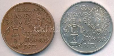 Nagy István (1920-) 1976. Baranya megyei éremgyűjtők 1976. Pécs / 900 éves a Dukász korona Ag és Br emlékérem pár (25,06g/0.800/42,5mm) T:1,1- apró ph.