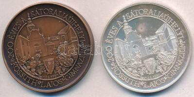Sebestyén Sándor (1949-) 1989. MÉE - 200 éves a sátoraljaújhelyi Kossuth Lajos Gimnázium Ag és Br emlékérem pár (35,73g/0.835/42,5mm) T:1(PP) fo.