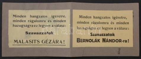 cca 1922 Szavazzatok Bernolák Nándorra / Malasits Gézára. 2 felragasztott választási röplap