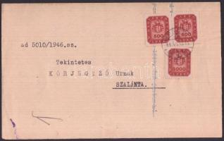 1946 (19. díjszabás) Levél 4.000 Milpengő bérmentesítéssel / Mi 907 (2 x) + 910 on cover