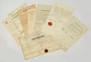 cca 1860-1900 Kis vegyes okmány tétel, szegénységi bizonyítvány, anyakönyvi kivonatok, stb., köztük viaszpecsétesek is