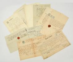 cca 1860-1880 Kis vegyes okmány tétel: anyakönyvi kivonatok, egy részük viaszpecséttel
