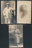 cca 1914-1945 Katonafotók, köztük tüzér csoportkép és folyamőr is, egy részük hátulján feliratozva, összesen 5 db, különböző méretben
