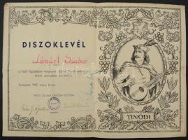 1942 Díszoklevél a Pesti Vigadóban megrendezett ötszázadik Tinódi-esten való kitűnő szereplésért