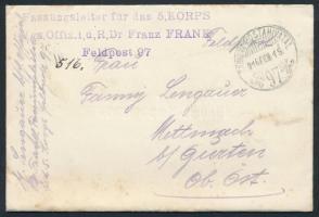 1916 Tábori posta levél Fassungsleiter für das 5 KORPS Vgs. Offiz. i,d,R,Dr Franz FRANK + TP 97